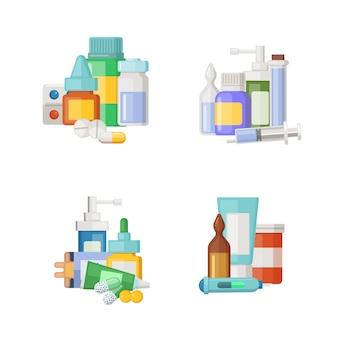 Zestaw leków kreskówki, mikstury i stosy pigułek. lek medyczny dla zdrowia, pigułki apteczne