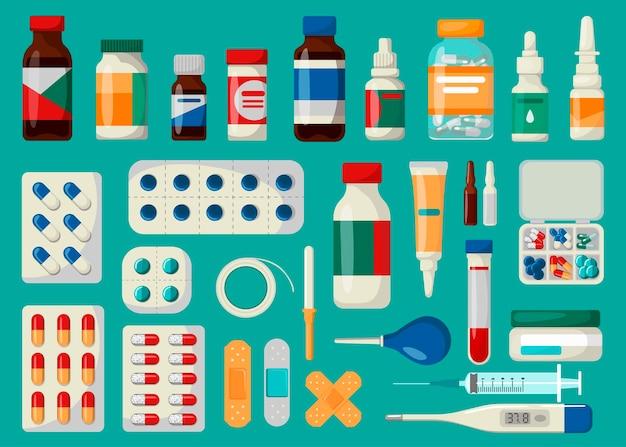 Zestaw leków medycznych. ilustracja w stylu kreskówki