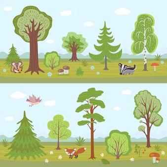 Zestaw leśnych krajobrazów. kreskówki natury panorama z drzewami
