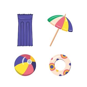 Zestaw letnich artykułów na piaszczystą plażę. nadmuchiwany materac, piłka, parasol słoneczny i koło ratunkowe na wakacje nad morzem.