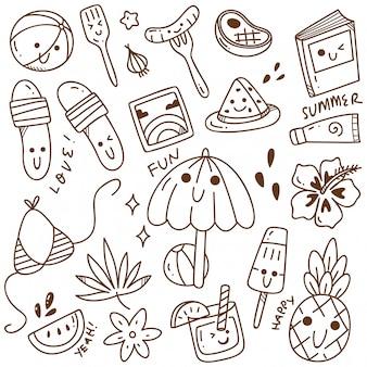 Zestaw letnich doodle