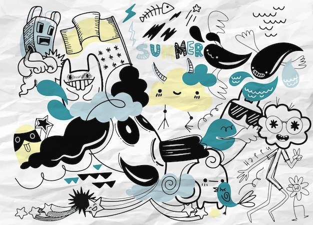 Zestaw letnich doodles