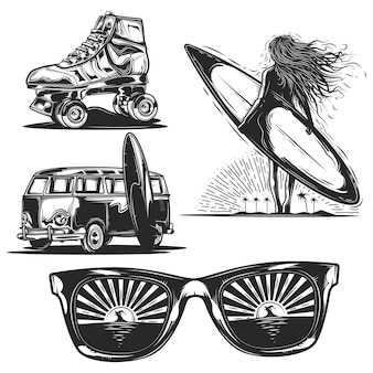 Zestaw letnich elementów (dziewczyna z deską, okulary przeciwsłoneczne, samochód itp.)