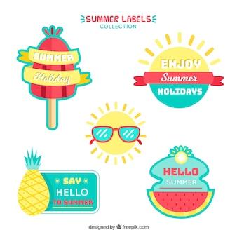 Zestaw letnich etykiet w kolorach
