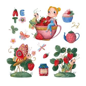Zestaw letnich ilustracji akwarela z truskawkami, motylami i dziewczyną