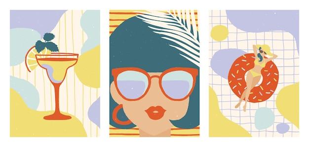 Zestaw letnich ilustracji. koktajl. młoda kobieta w okularach przeciwsłonecznych. kobieta z nadmuchiwanym pączkiem w basenie. ilustracje.