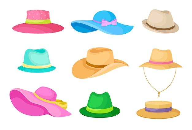 Zestaw letnich kapeluszy męskich i damskich. ilustracja na białym tle.