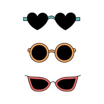 Zestaw letnich okularów przeciwsłonecznych w stylu bazgroły. akcesoria plażowe. prosta ilustracja na białym tle. ikona lato