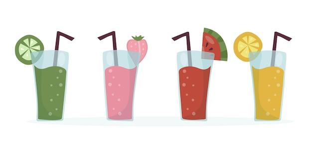 Zestaw letnich orzeźwiających koktajli owocowych