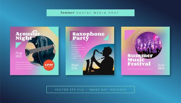 Zestaw letnich postów z muzyką retro futuryzmu dla mediów społecznościowych