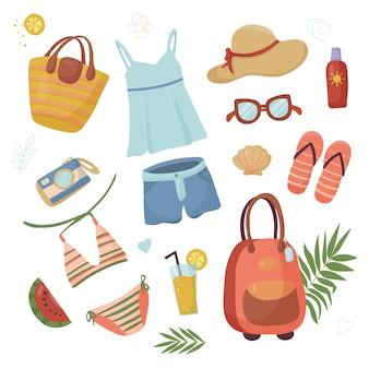 Zestaw letnich rzeczy na podróż i wakacje