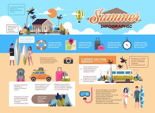 Zestaw letnich wakacji infografika plan surfowania autobus tropikalny plaża retro samochód mężczyzna kobieta deska surfingowa willa vintage