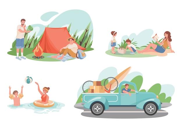 Zestaw letnich wakacji. szczęśliwi uśmiechnięci ludzie biwakują, pływają, mają piknik na łonie natury, przenoszą się do lasu w weekendy. płaskie ilustracja na świeżym powietrzu aktywnego stylu życia.