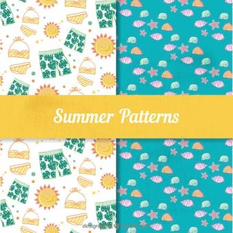 Zestaw letnich wzorów z kostiumów kąpielowych i muszli