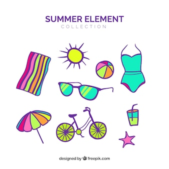 Zestaw letnie ubrania i elementy w stylu płaski