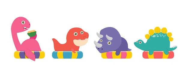 Zestaw letniego słodkiego dinozaura w pływaniu i gumowy pierścień tyranozaur triceratops stegozaur nessie