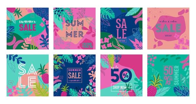 Zestaw letniej wyprzedaży plakat z tropikalnych liści i kwiatów, baner reklamowy i tropikalny tło w nowoczesnym stylu płaski, oferta specjalna wiosna flash, reklama wakacje plakat, ulotka. ilustracja wektorowa