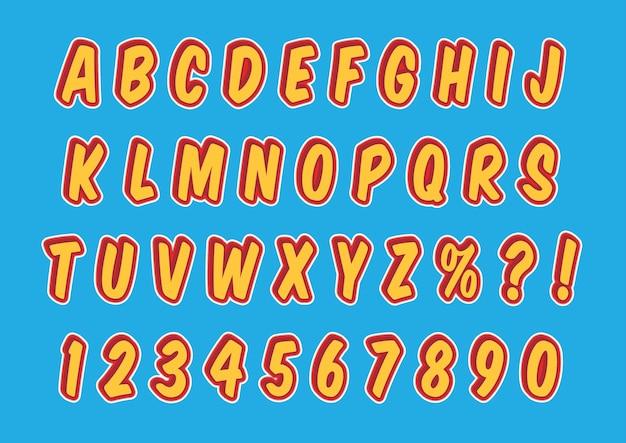 Zestaw liczb alfabetów w stylu komiksowym 3d