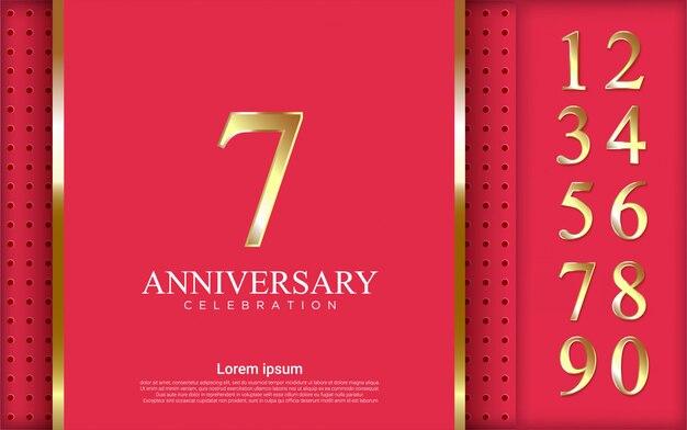 Zestaw liczb do świętowania z luksusowym różowym tle.