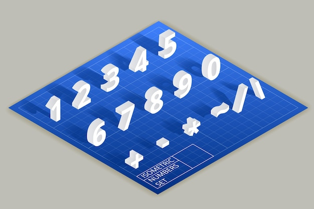 Zestaw liczb izometrycznych. cyfry matematyczne, typografia w stylu nowoczesnym