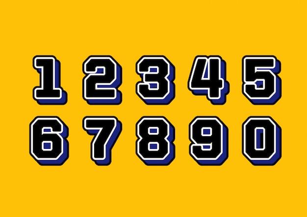 Zestaw liczb koszulki sportowej munduru