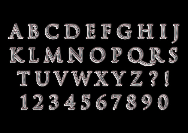 Zestaw liczb modnych alfabetów mercury 3d