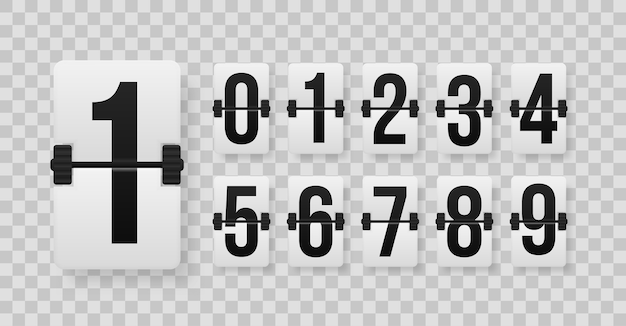Zestaw liczb na mechanicznej tablicy wyników. kreatywna ilustracja minutnika z różnymi numerami. projekt sztuki licznika zegara. odliczanie godzin licznika czasu.
