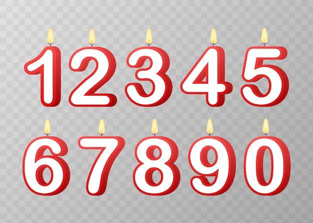 Zestaw liczb świec happy birthday.