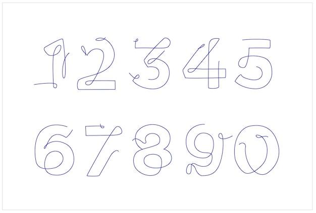 Zestaw liczb w stylu sztuki linii. urodzinowa karta szablonu. linia ciągła. jedna linia