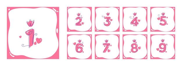 Zestaw liczb w stylu sztuki linii. urodzinowa karta szablonu. linia ciągła.