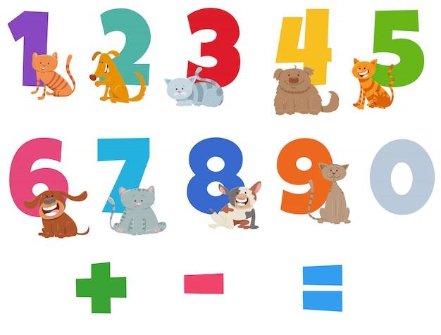 Zestaw liczb z zabawnymi kotami i psami