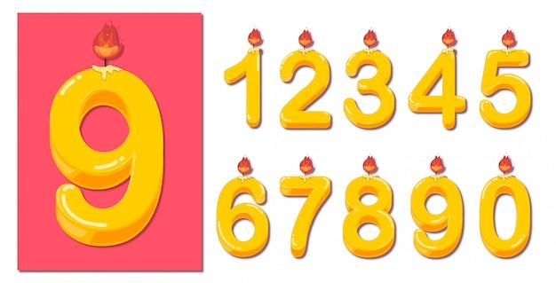 Zestaw liczb żółte świeczki na urodzinowym torcie w stylu 3d