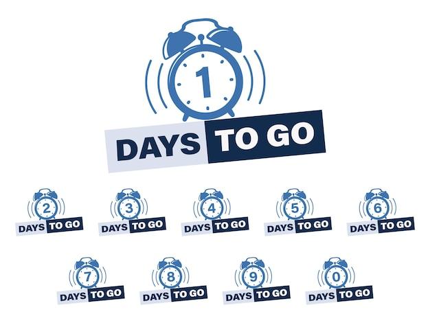Zestaw liczby dni, aby przejść projekt naklejki. ikona czasu. numer od 0 do 9