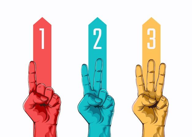 Zestaw liczenia jeden dwa trzy znak ręką. koncepcja trzech kroków lub opcji. ilustracja wektorowa