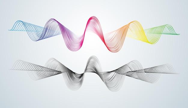 Zestaw linii fali abstrakcyjnej fali dźwiękowej