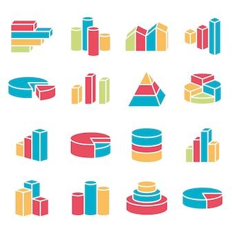 Zestaw linii finansowych ikony stylu. bary, wykres, wykres, plansza, elementy diagramu.