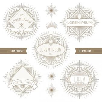 Zestaw linii heraldycznych emblematów i etykiet z promieniami słonecznymi