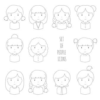 Zestaw linii kobiece twarze ikony