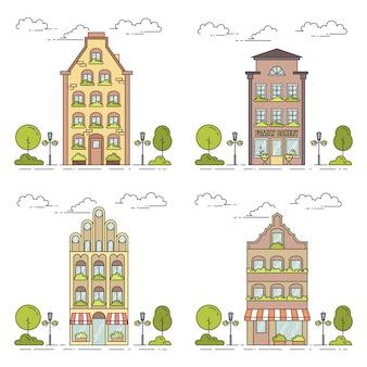 Zestaw linii krajobrazu miejskiego.