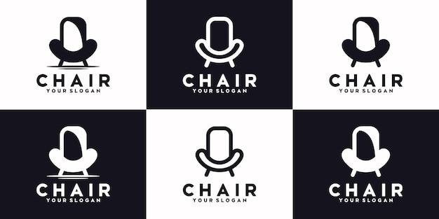 Zestaw linii krzeseł, meble z logo, logo referencyjne