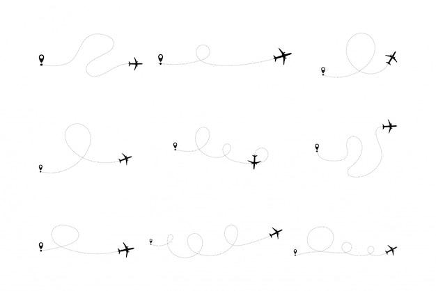 Zestaw linii linii samolotu trasy lotu samolotu z punktem początkowym i śladem linii przerywanej.