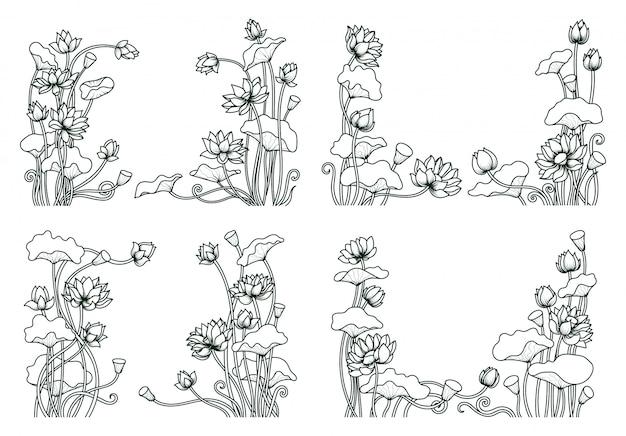 Zestaw linii lotosu kwiatowy