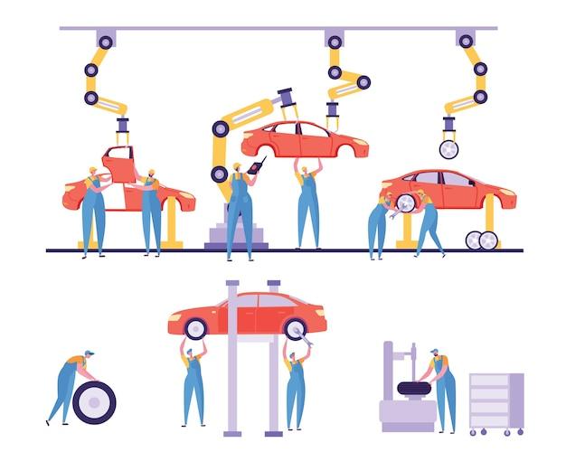 Zestaw linii maszyn do produkcji samochodów.