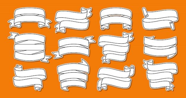 Zestaw linii naklejki wstążki. kolekcja płaskich taśm pustych, ozdobna naszywka konturowa. projekt konspektu, znak wstążki. zestaw ikon internetowych z taśmami tekstowymi. na białym tle na pomarańczowym tle ilustracji