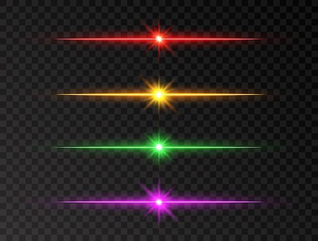 Zestaw linii neonowej. kolorowe promienie połysku. zestaw świecącej linii. realistyczny zestaw flary. błysk z promieniami i reflektorem. świecące światła, gwiazdy i iskierki. błyszczące promienie słońca