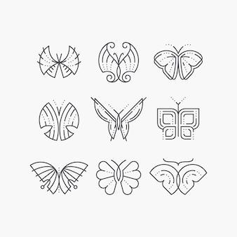 Zestaw linii pustych motyli. monochromatyczny zarys graficzny modne ikony, logo, znaki.