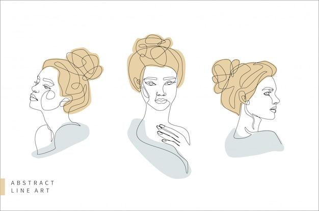 Zestaw Linii Streszczenie Streszczenie Twarz Minimalne. Głowa Kobiety Z Profilu I Przodu. Ręcznie Rysowane Moda Logo Ilustracja Projektu. Premium Wektorów