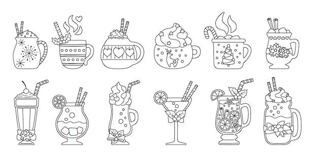 Zestaw linii świątecznych gorących napojów. różnych napojów czarny liniowy kreskówka płaski. urocze słodkie kubki gorące kakao, kawa, mleko i grzane wino. noworoczne napoje zdobione ostrokrzewem, słodyczami. ilustracja