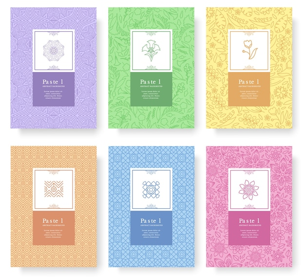 Zestaw liniowej koncepcji stylu pastelowego. element konspektu na książce, streszczenie układu, czasopisma, broszura.