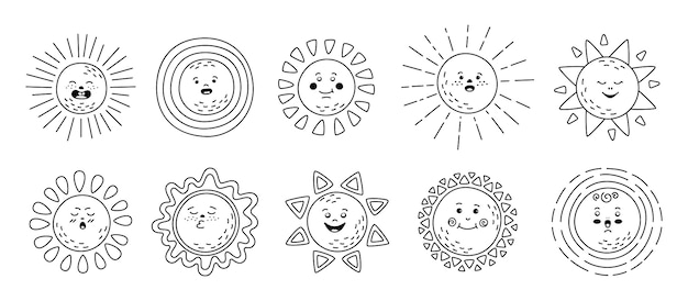 Zestaw liniowy płaski sun. ręcznie rysowane słodkie słońca. zabawny kontur dziecinna kolekcja słonecznych emotikonów. uśmiechający się postać z kreskówki promienie słońca. emotikony czarne linie letnie emotikony. ilustracja na białym tle